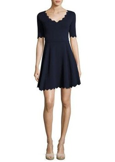 Milly Scalloped Half-Sleeve Fit-&-Flare Dress