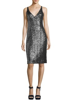 Milly Sea-Glass Sleeveless V-Neck Sequin Cocktail Dress