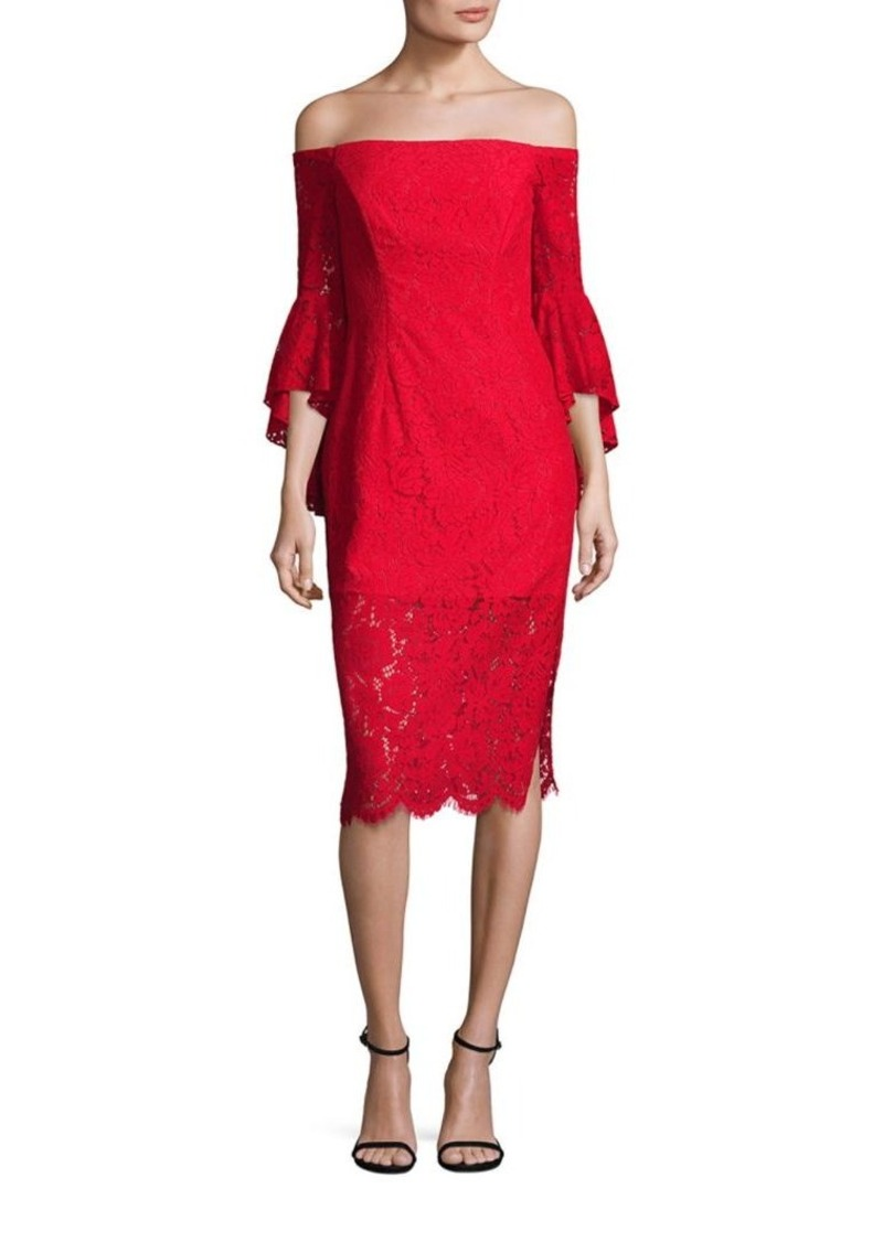 MILLY Selena Bell Sleeve Off-The-Shoulder Floral Lace Dress