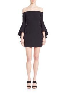 MILLY Selena Italian Bell Sleeve Cady Off-The-Shoulder Mini Dress