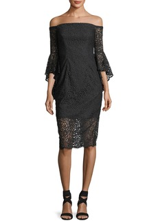 Milly Selena Lace Off-the-Shoulder Cocktail Dress
