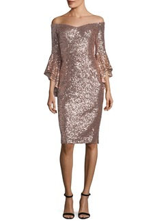 Milly Selena Off-the-Shoulder Bell-Sleeve Sequined Cocktail Dress