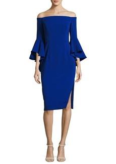 Milly Selena Off-the-Shoulder Cady Sheath Dress