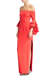 Milly Selena Off-the-Shoulder Double-Ruffled Sleeve Evening Gown