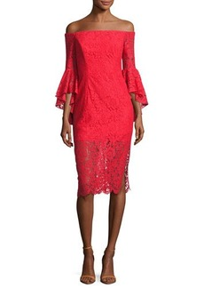 Milly Selena Off-the-Shoulder Lace Cocktail Dress