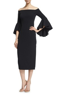 Milly Selena Off-The-Shoulder Midi Dress