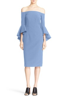 Milly Selena Stretch Cady Off the Shoulder Midi Dress