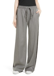 Milly Sequin Gabardine Track Pants