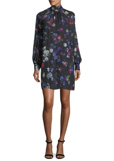 Milly Sherie Long-Sleeve Painted Floral Georgette Silk Minidress