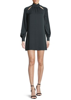 Milly Sherrie Mock-Neck Long-Sleeve Stretch-Silk Dress