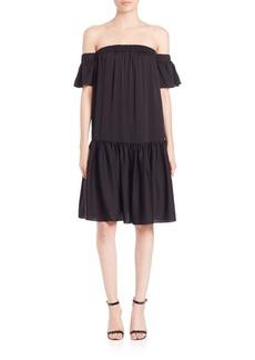 MILLY Shirred Off-The-Shoulder Dress