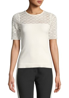 Milly Short-Sleeve Translucent Texture Top