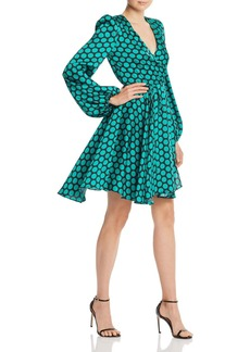 MILLY Siena Dot Print Twill Wrap Dress