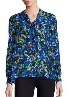 MILLY Silk Jewel-Print Tie-Neck Blouse