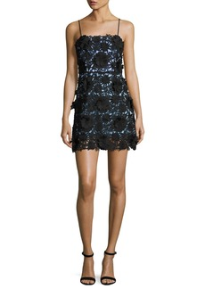 Milly Sleeveless 3D Floral-Lace Minidress