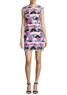 Milly Sleeveless Banded Modern-Print A-Line Dress