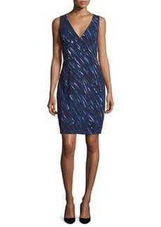 Milly Sleeveless Brushstroke-Print Sheath Dress