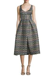 Milly Sleeveless Chevron Brocade Midi Dress