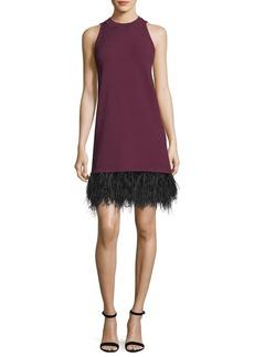 Milly Sleeveless Cocktail Shift Dress w/ Ostrich Feather Hem