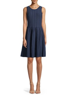 Milly Sleeveless Dot Dress w/ Pleated Skirt