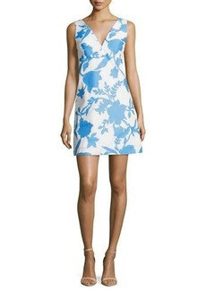 Milly Sleeveless Floral-Jacquard Minidress