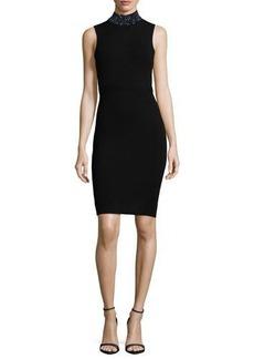 Milly Sleeveless Gem-Collar Sheath Dress
