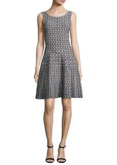 Milly Sleeveless Geometric Jacquard Fit-&-Flare Dress