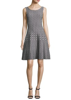 Milly Sleeveless Geometric Jacquard Fit-&-Flare Dress
