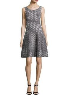 Milly Sleeveless Geometric Jacquard Knit Fit-&-Flare Dress