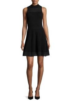 Milly Sleeveless Hexagon-Stitch Fit-&-Flare Dress