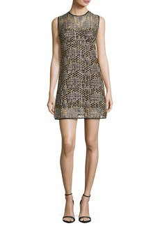 Milly Sleeveless Jewel-Neck Sequined Tulle Shift Dress