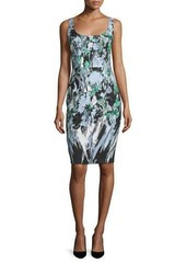Milly Sleeveless Painterly Floral-Print Sheath Dress