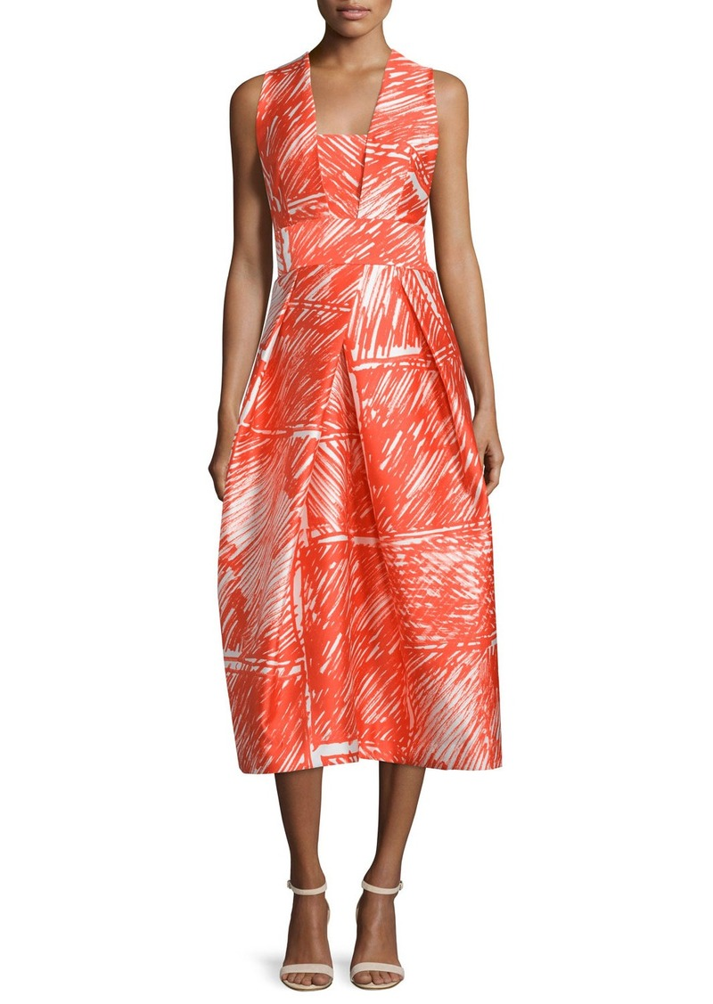 Milly Sleeveless Printed Midi Cocktail Dress