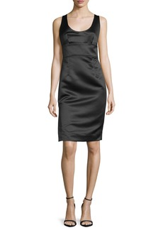 Milly Sleeveless Satin Cocktail Dress