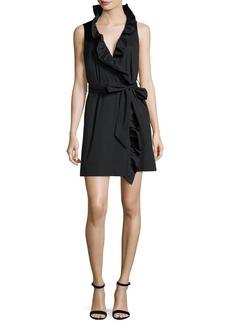 Milly Sleeveless Stretch-Poplin Ruffle-Front Wrap Dress