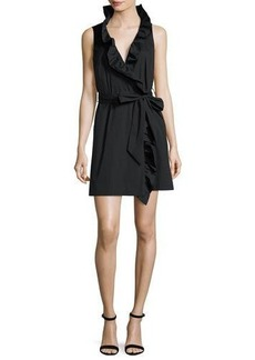 Milly Sleeveless Stretch-Poplin Ruffle-Front Wrap Dress