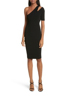 Milly Sliced One-Shoulder Sheath Dress