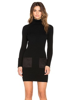 MILLY Slim Rib Suede Pocket Dress