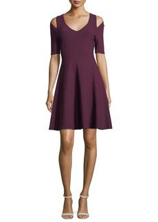 Milly Slit-Shoulder Fit-&-Flare Dress