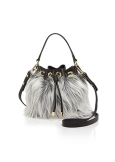MILLY Small Faux-Fur Drawstring Bucket Bag