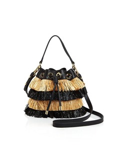 MILLY Small Raffia Drawstring Bucket Bag