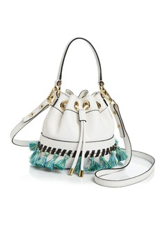 MILLY Small Whipstitch Tassel Drawstring Bucket Bag