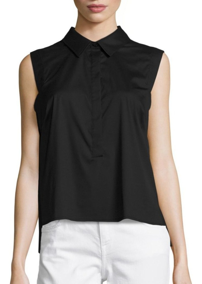 MILLY Solid Collared Pleat Shirt