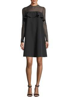 Milly Sophie Dotted Tulle Popover Shift Dress