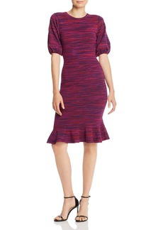MILLY Space-Dye Puff-Sleeve Dress