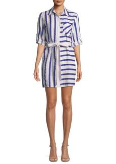 Milly Split-Striped Tie-Waist Linen-Stretch Shirt Dress