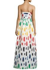 Milly Strapless Brushstroke-Print Ball Gown