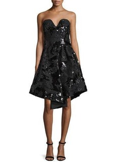 Milly Strapless Sequined Cocktail Dress