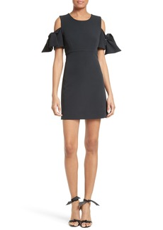 Milly Stretch Crepe Cold Shoulder Minidress