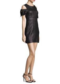 Milly Stretch Lurex Tie Mod Cold-Shoulder Dress